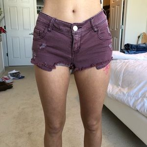 Burgundy colored shorts